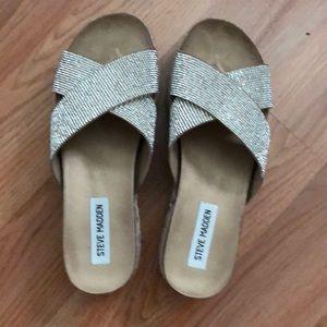 Platform sandals with rhinestones